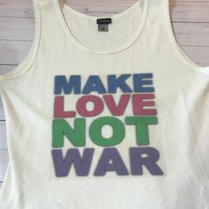 Vintage Silver for Her Make Love Not War Tank L